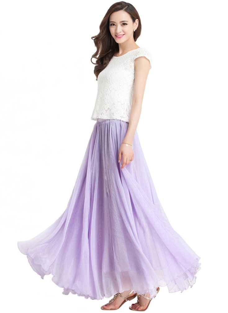 Long Chiffon Skirt | Dresscab