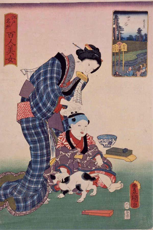 【子ども浮世絵/Ukiyo-e】こちらも散髪中。ネコは邪魔しないで!国貞の作品です。