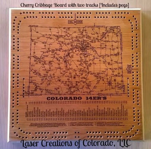 Cribbage Board Cherry or Maple Colorado 14er's by LaserCreationsCO