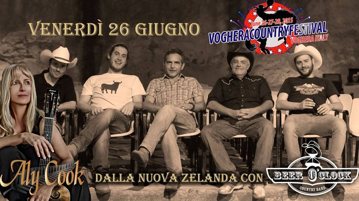 "The ""2012 New Zealand Female Country Artist of the Year"" on stage Friday, June 26th 2015 @ Voghera Country Festival with an Italian Country Band of Tuscany: Aly Cook & Beer O'Clock http://www.facebook.com/alycookmusic"