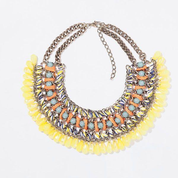 Encontrar Más Cadenas Información acerca de Moda Bohemia gargantilla collar  marca amarillo gota de la borla