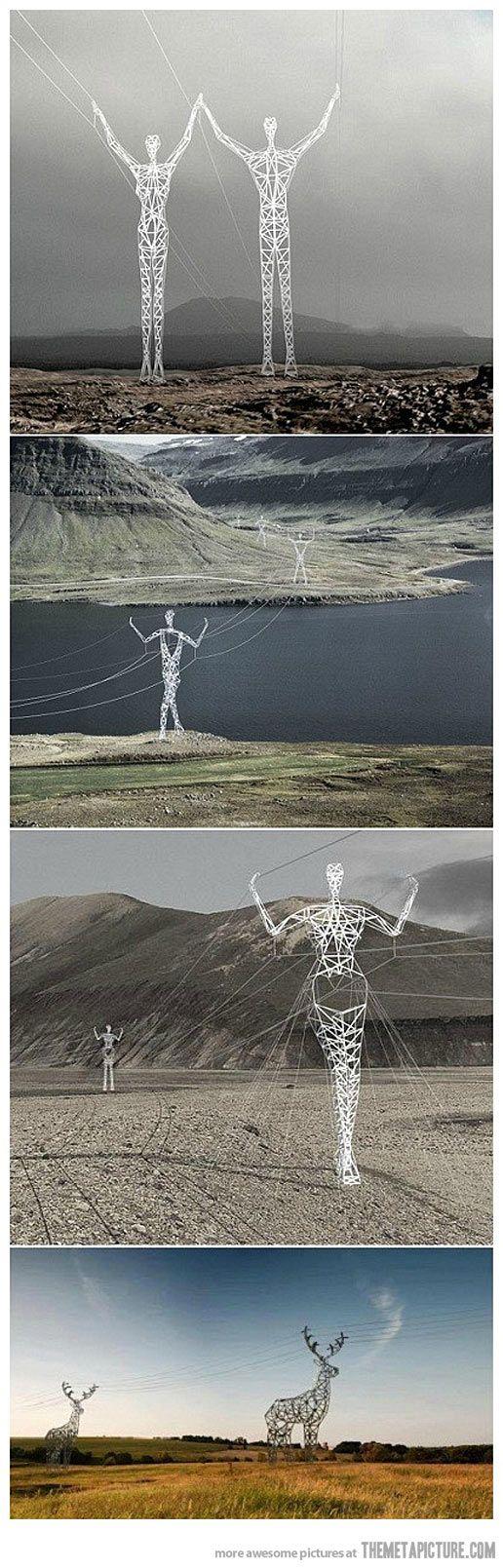 電力的來源其實是太陽藉由樹木所留下來的,樹型的電塔呈現出了這樣的真相 !