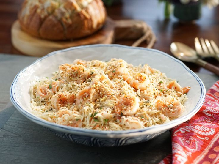 Shrimp Scampi and Pasta with Herb Breadcrumbs recipe from Valerie Bertinelli via Food Network