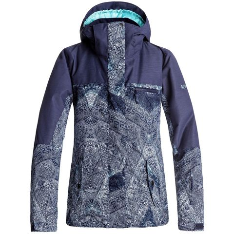 The bold prints on the Jetty are just the cherry on top of this functional, affordable snow jacket. ROXY DryFlight® technology and critically taped seams keep the wet and snow out, while Warmflight® insulation keeps warmth in. A powder skirt, Lycra® wrist gaiters, and internal media and goggle pockets also combine to make the Jetty a reliable mountain jacket all season long.