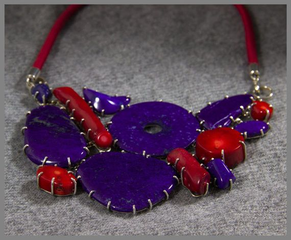 The Coral Lapis Lazuli Necklace/ Handmade Jewelry / Natural