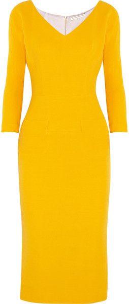 VICTORIA BECKHAM Wool and Silk Blend Twill Dress - Lyst