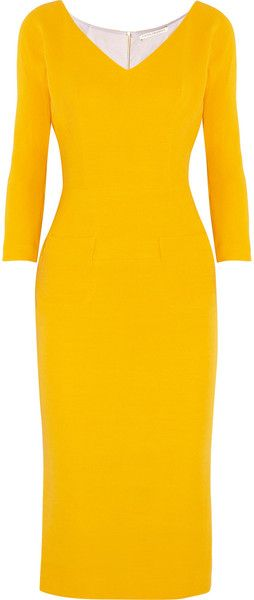 victoria beckham Wool and Silk Blend Twill Dress - Lyst