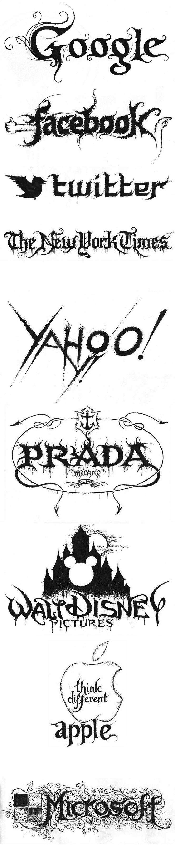 Logos de empresas famosas como bandas de heavy metal. Logos por Christophe Szpadjel.