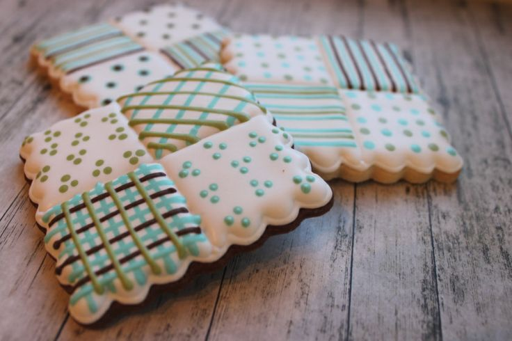 Sugar Cookies With Royal Icing Baby Quilt Design.