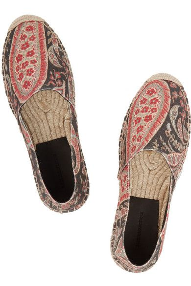 Sole measures approximately 10mm/ 0.5 inches Multicolored canvas Slip onLarge to size. See Size & Fit notes.