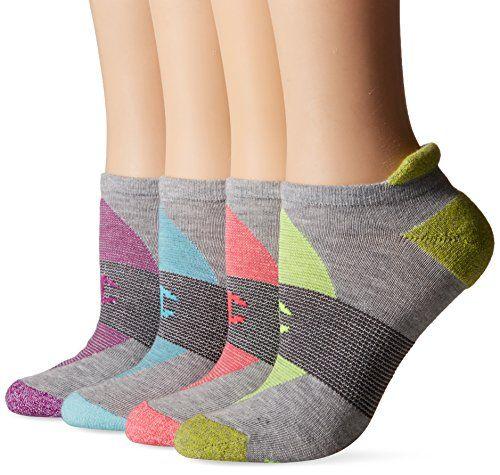Champion Women's Double Dry 4-Pack Performance Heel Shield Socks, Grey/Grey Stripe/Assorted, 5-9