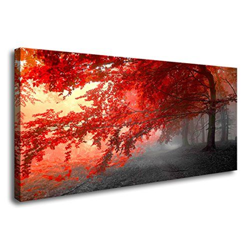 wall art Stretched Framed Ready Hang Flower Landscape Red Tree Flower Modern Painting Canvas Living Room Bedroom Office Wall Art Home Decoration - High definition picture photo prints on canvas with vivid color on thick high quality canvas to create the look and feel of the original nature and masterpiece. The canvas print is already perfectly stretched on wooden frame with hooks mounted on each panel for easy hanging out of box. The side m...