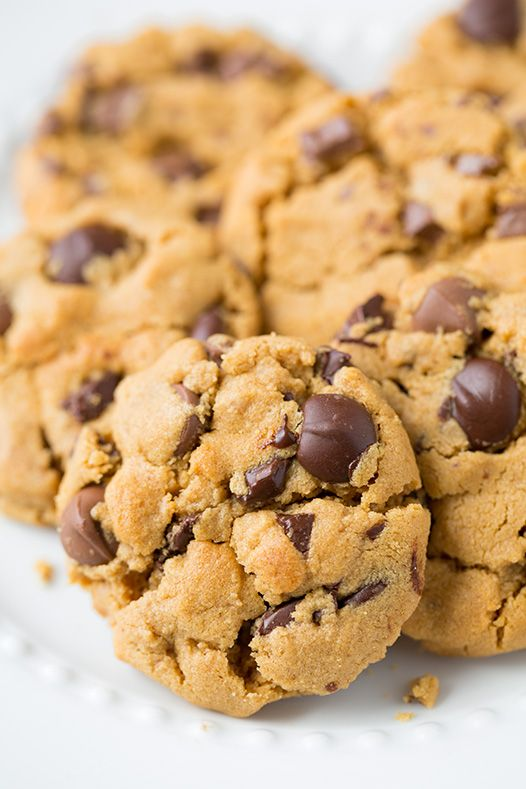 Flourless Peanut Butter Chocolate Chip Cookies ~ Naturally gluten free.
