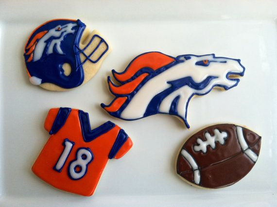 Denver Broncos  NFL Cookies  Football by TheTreatsbyTrishShop, $35.00