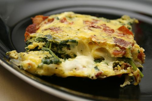 Bacon, spinach, and carmelized onion crustless quiche, heck yes!