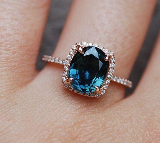 Blue Green sapphire engagement ring. Peacock sapphire 3.26ct cushion halo diamond ring 14k Rose gold.
