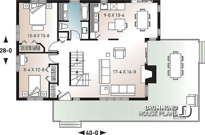 Discover The Plan 2903 The Whitespire Which Will Please You For Its 2 3 Bedrooms And For Its Cottage Chalet Cabin Styles Drummond House Plans House Plans House Plans 3 Bedroom Open concept chalet house plans