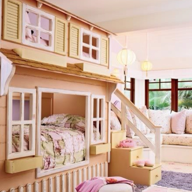 Love this bunk bed idea:  Cots, Ideas, Kidroom, Dreams Rooms, Girls Bedrooms, Bunk Beds, Little Girls Rooms, Dolls House, Kids Rooms