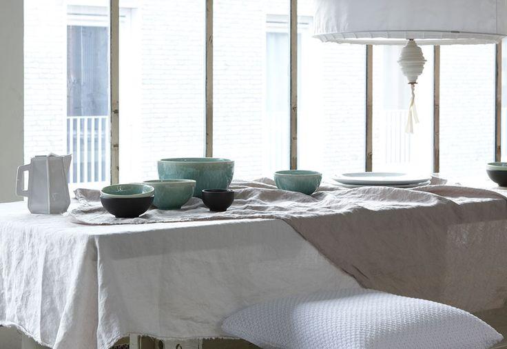 brocante - eettafel - linnen - tafelkleed - servet - House in Style