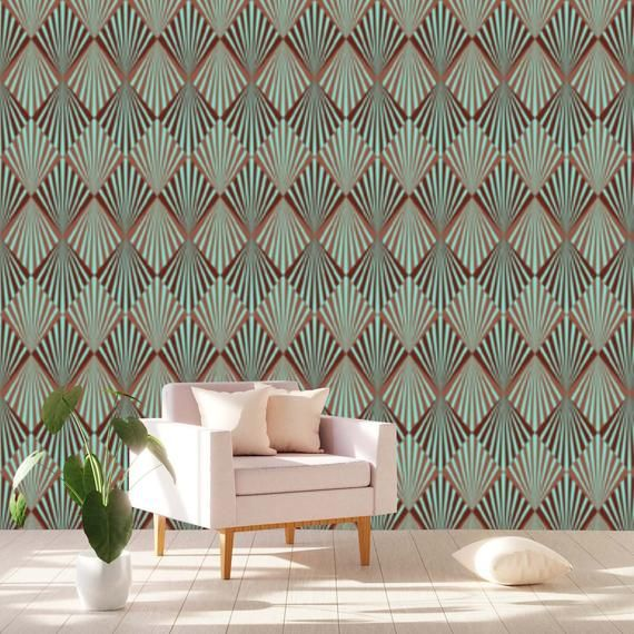 Abstract Geometric Art Deco Wallpaper Removable Peel And Stick Etsy Art Deco Wallpaper Wallpaper House Design Home Wallpaper