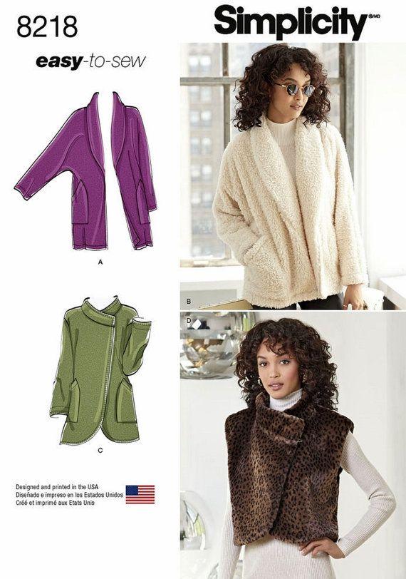 Fleece Cardigan Jacket Pattern Easy to Sew Unlined by blue510