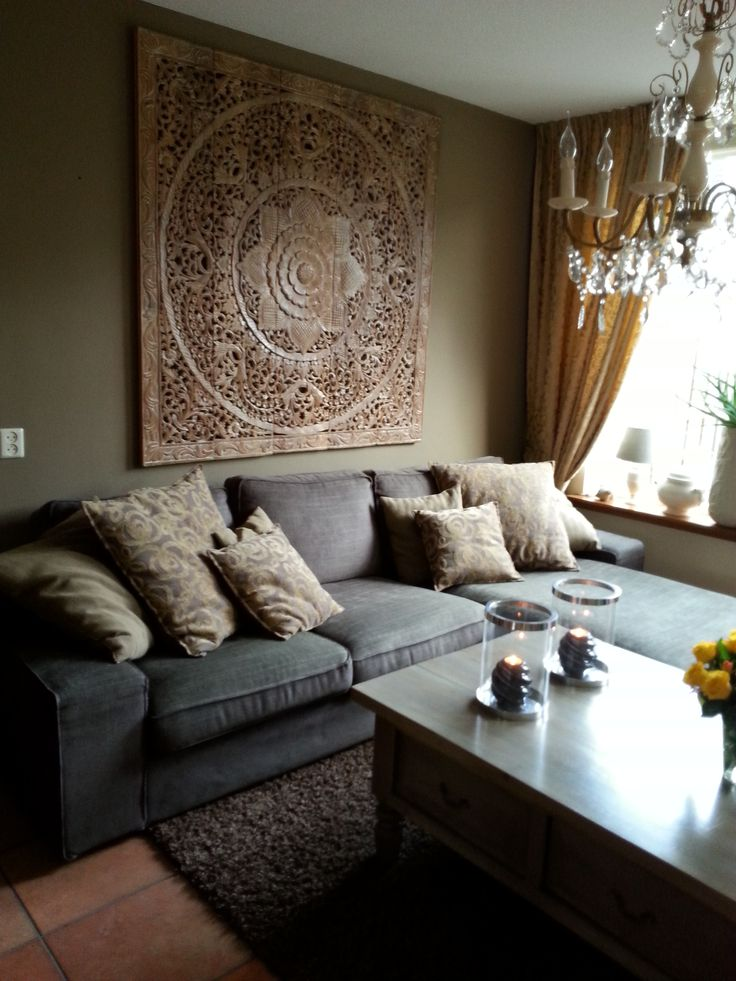 SIMPLY PURE Houtsnijwerk wandpaneel 150x150 cm White Wash in woonkamer ...