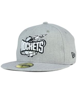 New Era Houston Rockets Heather Black White 59FIFTY Fitted Cap - Gray 7 1/4