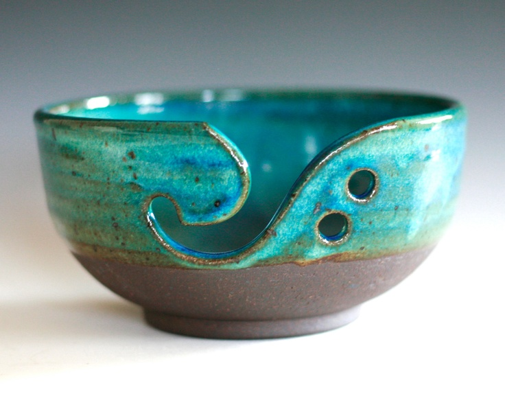 Yarn bowl knitting bowl pottery yarn bowl pottery for Clay pottery designs