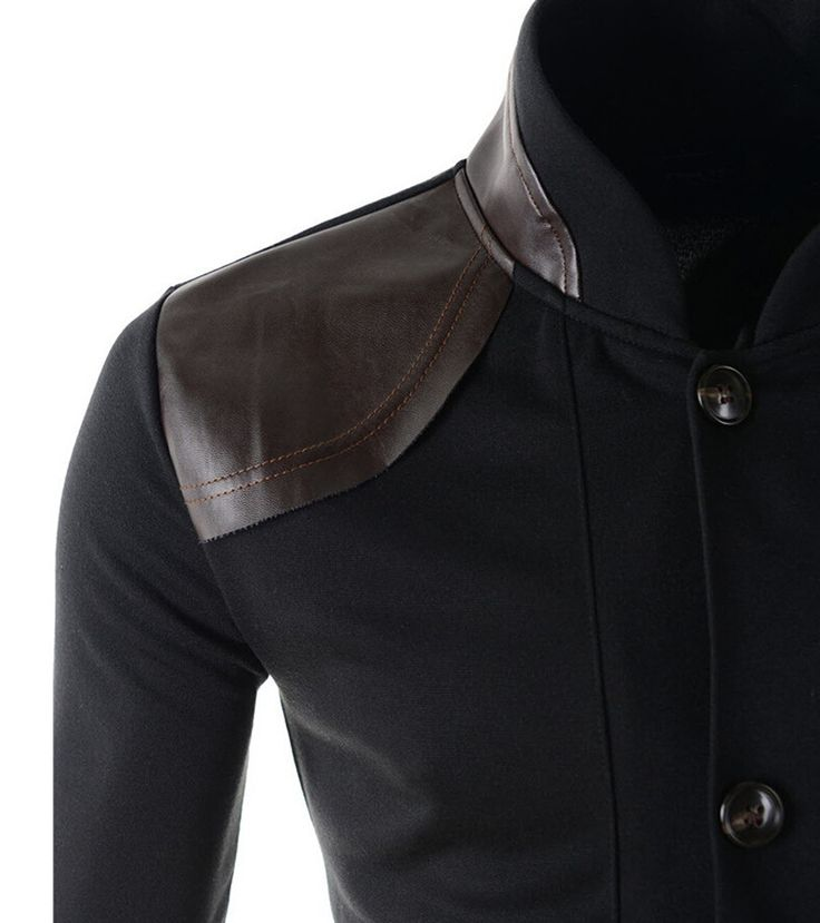 Hot Sale 2015 New Arrival  Mandarin Collar Leather Patchwork casual blazer Men ,Long Sleeve Fitness blazer masculino men suit