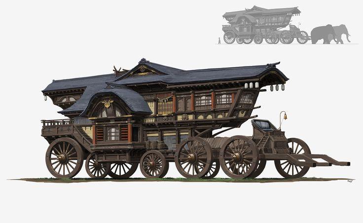 Ancient car, pang p on ArtStation at https://www.artstation.com/artwork/gd4xL