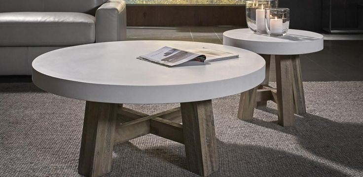 Round coffee table with a solid Acacia frame and concrete table top. Matching lamp table also available. Full Cooper range includes Dining Table, in round and rectangular shape, Console, Buffet, TV Cabinet, Tall Cabinet and Mirror.