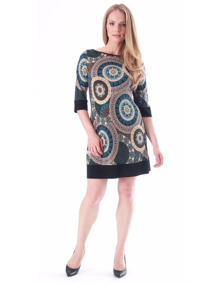 Mod style petite print dress by Papillon Blanc 3/4 sleeve shift.