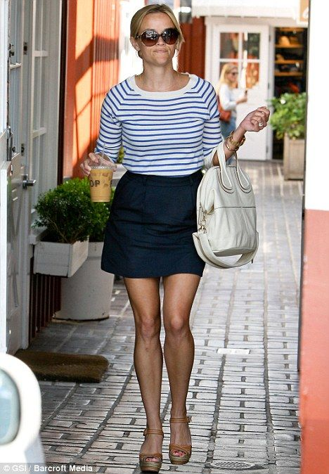 "Reese Witherspoon  height 5'1"". short/ petite fashion inspiration  stripe tee and navy skirt"