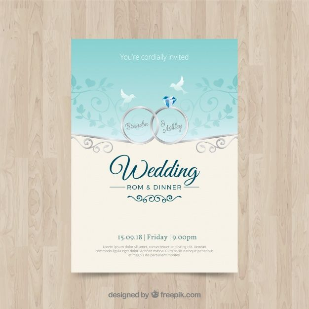 Download Nice Wedding Invitation In Flat Design For Free Fun Wedding Invitations Wedding Invitations Wedding Invitation Card Template