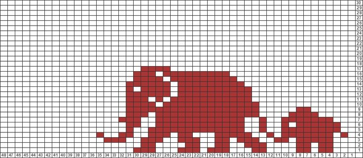 Tricksy Gráficas Knitter: Elefantes africanos (82.654) por Ute Kühne