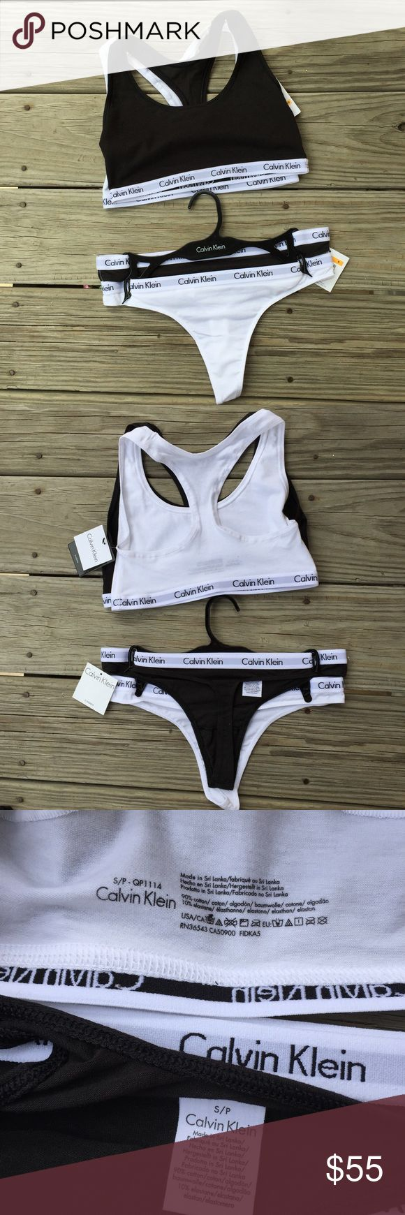 calvin klein set simple black and white calvin klein thongs and bralettes, both size small. price is for both bralettes and thongs. they came together as sets and will only be sold as sets! (sorry about that!!) Calvin Klein Underwear Intimates & Sleepwear Bras