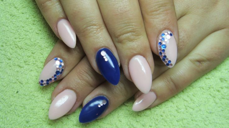 Pink and blue nails with rhinestones