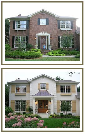 Before and after. YES, paint your brick!Of House Curb Appeal, Painting Bricks House Exterior, Before And After Curb Appeal, Exterior Painted Brick Design, Front Exterior Shutters, Bricks Home Front Doors, Painting A Brick House, Better Balance, Brick Exterior Shutters