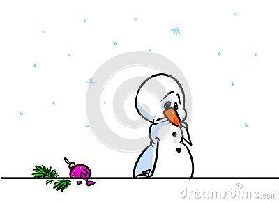 Christmas snowman character sorrow cartoon illustration isolated image