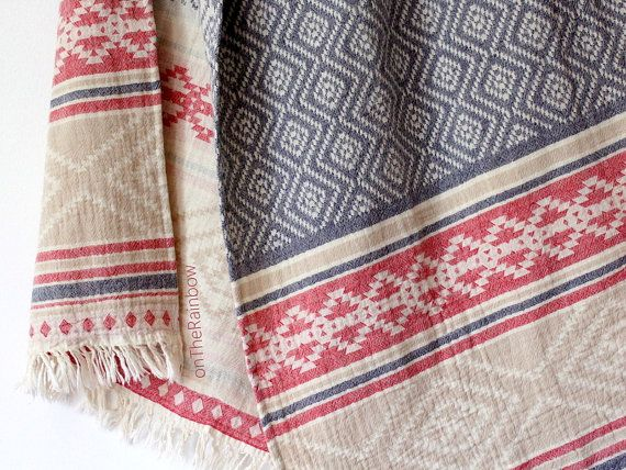 Bohemian Beach Towel | Aztec Navajo Throw Blanket | Southwestern Beach Blanket Wrap | Geometric Organic Bath Towels | Tribal Ethnic Boho
