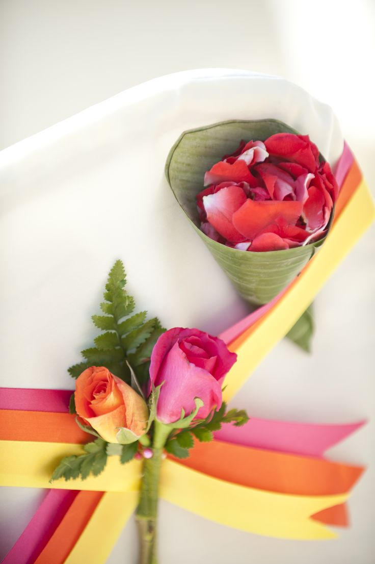 Pink orange and yellow beach wedding Weddings in Thailand.