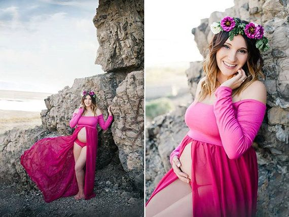 Roxy Gown  Long Sleeve Maternity Gown  by SewTrendyAccessories