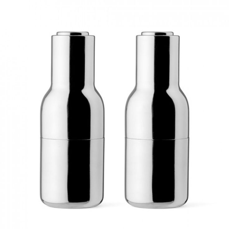 The incredible Menu salt and pepper bottle grinders in new colour stainless steel designed by Norm Architects l Designstuff