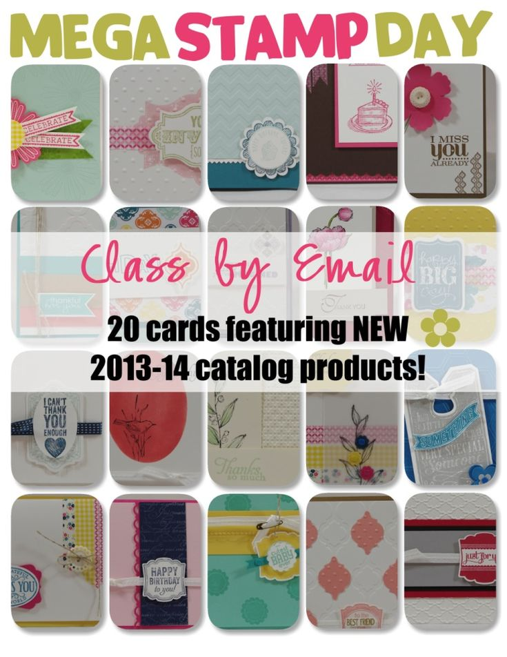 20 AWESOME CARDS using tons of new 2013-14 Stampin' Up! products all in one organized pdf file. You'll receive full colour pictures; cutting dimensions, supply list and tips to create each.
