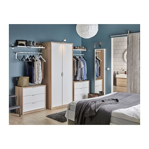 ASKVOLL Wardrobe, white stained oak effect, white white stained oak effect/white 31 1/2x20 1/2x74 3/8