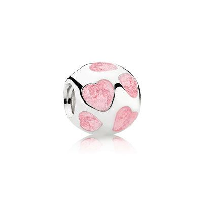 Add some romance! Pink love you charm in sterling silver with pink enamel. $55 #PANDORA #PANDORAcharm #Hearts