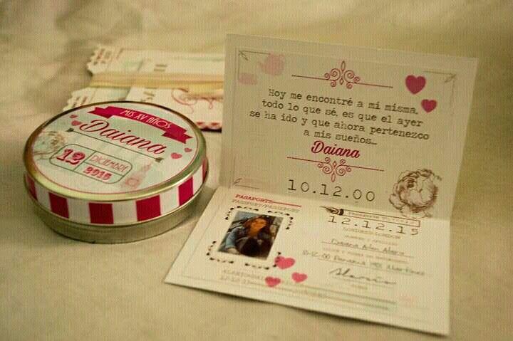Invitaciones 15 años pasaporte vintage y lata souvenir .