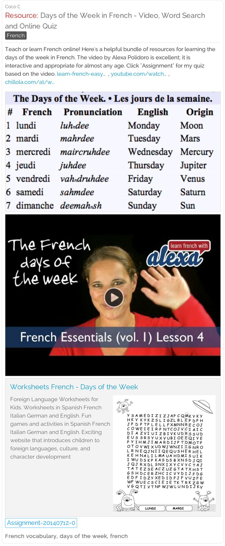days of the week in french free video word search online quiz and word list schoolfy. Black Bedroom Furniture Sets. Home Design Ideas
