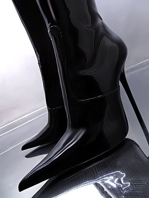 LEDER HOHE STIEFEL SCHWARZ LACK 1969 ITALY Z23 BOOTS LEATHER HIGH HEELS 35-44