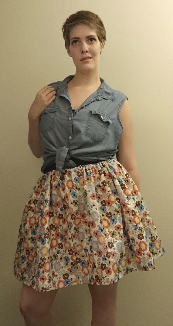 """Flower Picking Cotton Elastic Waistband Skirt- $20.00 100% Cotton Fits Waists 30""""-38"""""""